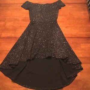 'Windsor' Black Glittery Wide Shoulder Dress